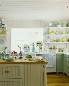 Loveliest blue and green cottage kitchen.