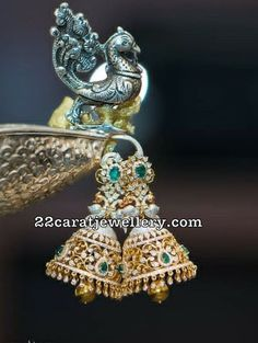 Diamond Necklace Peacock Jhumkas by RM Jewels