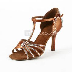 Women's Satin / Rhinestone Upper T-Strap Latin / Salsa Dance Shoes