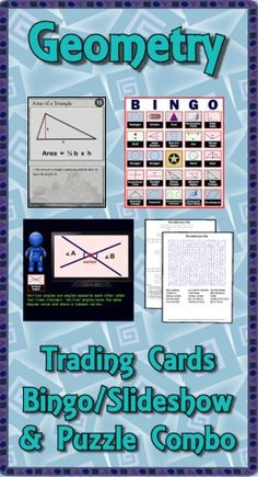 This Geometry combo pack contains the deck of 54 trading cards, the Bingo/Slideshow (PC & Mac) software with 40 bingo cards, two crossword puzzles and two word searches. Bonus features include additional games, directions for making trading cards, and instructions to make your PowerPoints talk. ($)