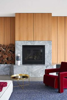 Terrazzo and marble, cool gray surfaces and rich tactile elements, wooden cladding and artistic insertions, modern furniture pieces and unexpected architectural Granite Fireplace, Marble Fireplace Surround, Marble Fireplaces, Fireplace Surrounds, Fire Surround, Australian Interior Design, Interior Design Awards, Terrazzo, Super White Granite