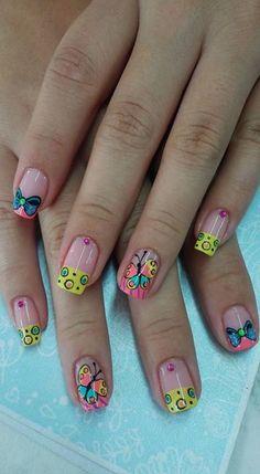 Cute Nail Colors, Cute Nails, Hello Nails, Flower Nails, Manicure And Pedicure, Beauty Nails, Nail Designs, Make Up, Nail Art