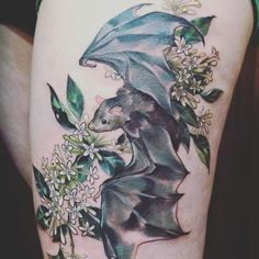 A beautiful #tattoo of some blooming jasmine and a cute #bat. Do you have any tattoos #witch dolls? ♥
