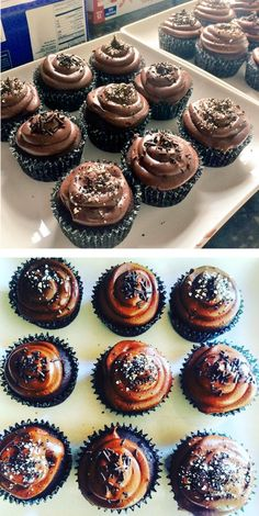 WEEK 6: here's some #glutenfree chocolate cupcakes with GF cookie crumble and chocolate frosting #GFMBO - Rebecca Warner-Perry