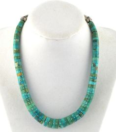 Old Pawn Southwestern Tribal Turquoise Heishi Necklace Sterling Silver Clasp #Unbranded