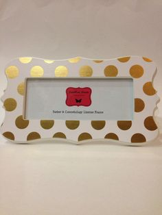 barber cosmetolgy license frame white with gold foil polka dots fits 8 12