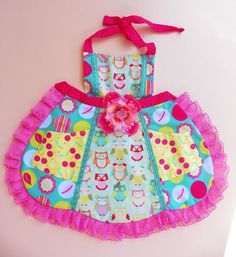 Bright Owl and Cherries Apron by WildOliveKids on Etsy, $25.00
