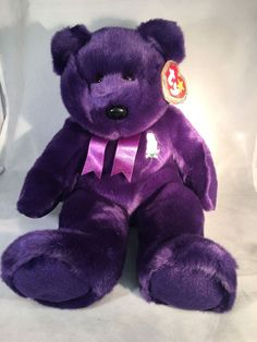 da509a42287 Ty Beanie Baby Buddy 1998 Princess Diana Bear Plush Purple Excellent  Condition