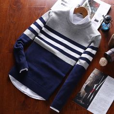 Buy Zafraa Blue & Gray Striped Sweater online in India at best price. Outfits Casual, Mode Outfits, Men Casual, Fashion Outfits, Dress Casual, Mens Fashion Sweaters, Sweater Fashion, Mens Striped Sweater, Men Sweater