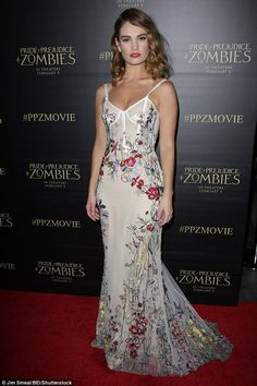 Drop dead gorgeous! Lily James, 26, attended the premiere of Pride and Prejudice and Zombies in Los Angeles on Thursday