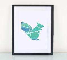 Kunstdruck mit Origami Eichhörnchen in Türkis / artprint, turquoise squirrel by Eulenschnitt via DaWanda.com