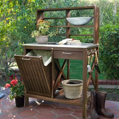 Belham Living Winfield Acacia Wood Potting Bench - Achieve great success in the garden with a little help from the Belham Living Winfield Acacia Wood Potting Bench. With an easy-to-clean stainless stee...