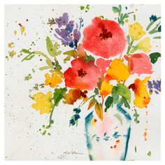White Vase with Bright Flowers Canvas Giclee Print