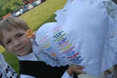 Family ring-bearer pillow with names & dates embroidered in the wedding color...great family tradition!