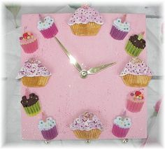 Pink Cupcake Ceramic Clock by Angelheartdesigns on Etsy, $48.00