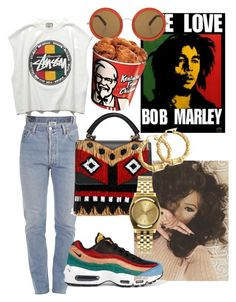 """""""one love"""" by annabidel ❤ liked on Polyvore featuring Stussy, Vetements, NIKE, The Row, Nixon and Bling Jewelry"""