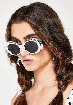 Platinum About A Girl Sunglasses cuz it's always about you, babe. These metallic oval sunglasses has an oversized design and black frames.  #dollskill #newarrivals #frontrow #skirt #shirts #pants #bottoms #shoes #springcollection #newstuff