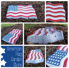 Cement Garden stone American Flag from Jell-O Mold. Great Fourth of July Project!