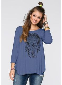 Blusa assimétrica, azul indigo claro/ preto estampado