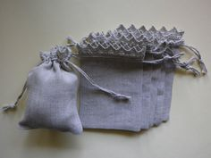 """10 pcs - Small Linen Bags - Rustic Linen Favor Bags - Grey Linen Bags, Linen Bags with Lace, Drawstring Linen Pouch,  Size 3"""" x 4"""" by IneseEseniHandmade on Etsy https://www.etsy.com/listing/294907465/10-pcs-small-linen-bags-rustic-linen"""
