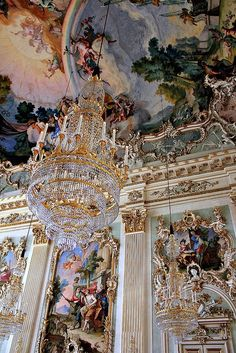 Architectural details inside Nymphenburg Palace in Munich, Germany, built 18th century