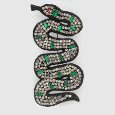 Gucci Embroidered snake brooch