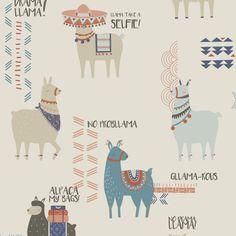 Fun Children's Wallpaper Animal Llama Print | CROWN DRAMA LLAMA FEATURE WALL WALLPAPER IN ORANGE/TEAL | Shop Online