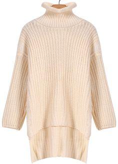 Apricot High Neck Long Sleeve Dipped Hem Sweater 19.00