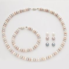 """Wedding Jewelry- Sterling Silver Freshwater Cultured Pearl Necklace 18"""" Bracelet 7"""" & Earrings Set Pearlyta http://smile.amazon.com/dp/B00B3WC1GU/ref=cm_sw_r_pi_dp_WlpOwb008RP48"""