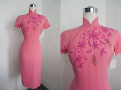 1950s Vintage Pink Beaded Chinese Style Dress by FrenchNavyVintage, $165.00