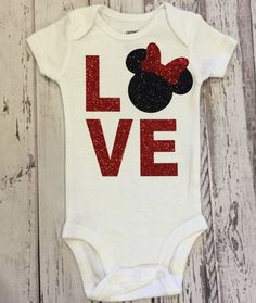 This Love Minnie design is made from beautiful red glitter and black glitter for the Minnie. The sparkly, glitter design does not shed, and is Baby Shirts, Onesies, Baby Onesie, Disney Shirts, Disney Outfits, Minnie Mouse Onesie, Harry Potter, Baby Time, Cute Baby Clothes