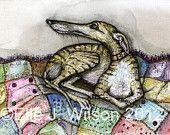 A Little Anticipation - Greyhound Art Dog Print. £15.00, via Etsy.