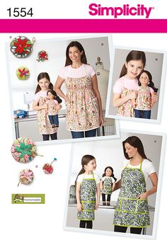 "Simplicity Creative Group - Child's, Misses' and 18"" Doll Aprons"