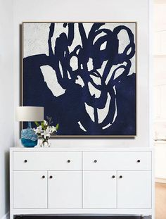 Hand-painted Navy blue and White Abstract Flower Painting on canvas, minimalist art #NV3A by CZ Art Design @CelineZiangArt