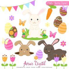 Easter Bunny Clipart - Vectors by Avenie Digital on Creative Market