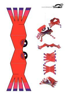 crab, paper toys
