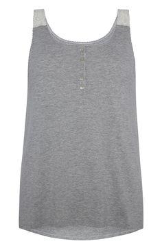 Primark - Grey Lace Shoulder Pyjama Vest