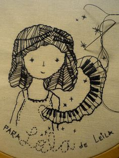illustrated with black thread. from leila montero.