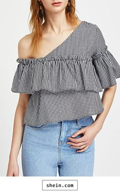 Asymmetric Off Shoulder Frill Trim Checkered Top.