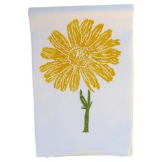 Showcasing A Floral Motif In Goldenrod This Hand Block Printed Cotton Dishtowel Lends Touch Of Charm To Your Kitchen Decor