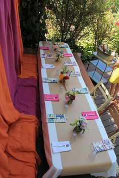 """Wedding shower table.  Colorful and """"green!"""""""