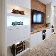 Trendy home theater planejado sala suspenso 49 ideas Living Room Tv, Home And Living, Small Living, Modern Living, Tv Wall Ideas Living Room, Wall Cabinets Living Room, Modern Tv, Home Tv, Modern Decor