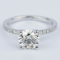 A stunning Petite Pave Round Diamond Engagement Ring in White Gold!