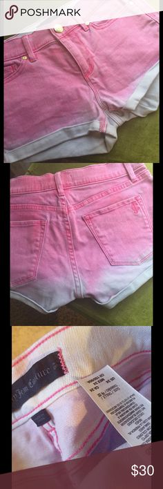 💕SALE💕Juicy Pink & White Ombré Jean Shorts Super cute, Juicy Ombré Jean shorts worn once.  Classic 5 pocket design with zip front. Juicy Couture Shorts