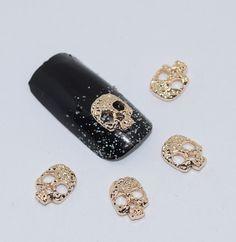 10psc New Golden Skull 3D Nail Art Decorations,Alloy Nail Charms,Nails Rhinestones  Nail Supplies #065