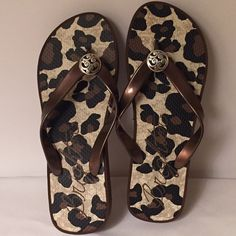 "New Brighton Bronze Platform Flip Flops sz 7 New with Tags, Spot Bronze Platform Flip flops with matching bag... Adorable Leopard Rubber soles with Brighton's silver-tone ornament. Size 7.  Heel height 1 1/2"" Brighton Shoes Platforms"