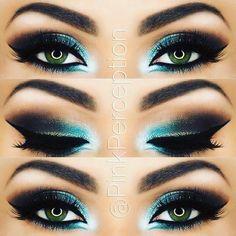 Turquoise-black smokey eyes.