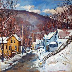 Toward Vermont Winter Snow. 16x16 Original Oil Painting