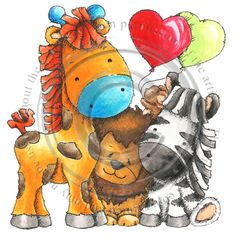 Safari Animals, Cute Animals, Cookie Icing, Digital Stamps, Farm House, Tigger, Character Art, Card Making, 1
