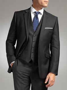 Buy John Lewis Tailored Wool Herringbone 3 Piece Suit, Charcoal online at JohnLewis.com - John Lewis